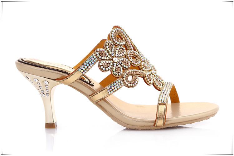 9393fcabab6 Rhinestone High Heels Sandals Gold Peep Toe Stiletto Slippers Discount Womens  Shoes Size 11 Casual Footwear For Ladies Online-in Slippers from Shoes on  ...