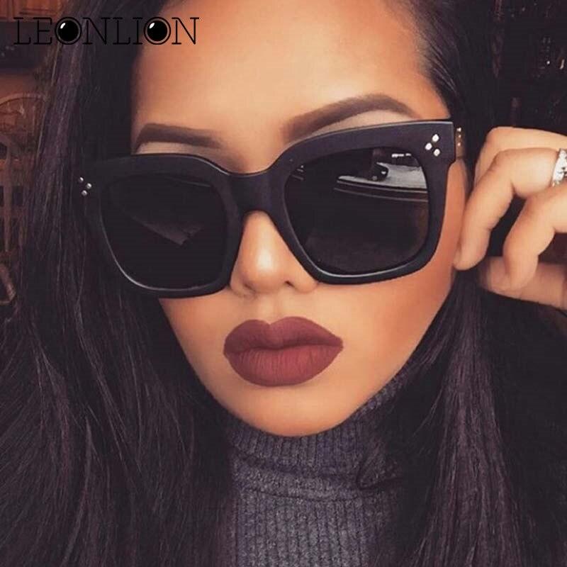 LeonLion 2017 modna kvadratna sončna očala za ženske oblikovalka - Oblačilni dodatki