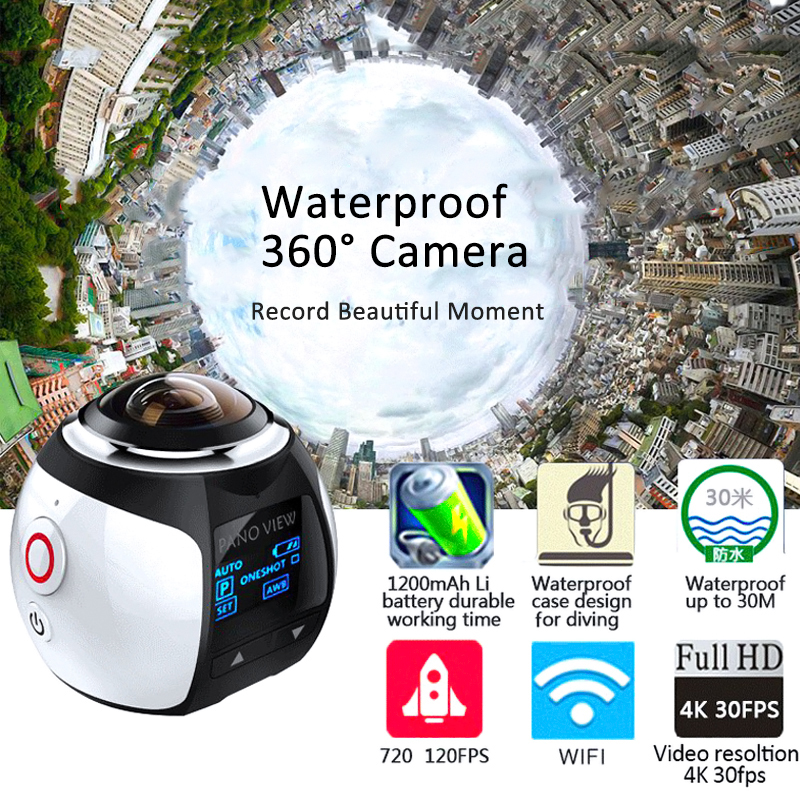 Action Camera WiFi 360 Camera Panorama 4K 16MP 3D Sport DV DVR Waterproof Digital Camcorder VR Video Cam For iphone 6s xiaomi Lg