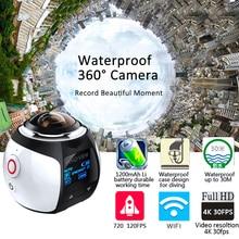 Действие Камера Wi-Fi 360 Камера панорама 4 К 16MP 3D Спорт DV DVR Водонепроницаемый Цифровая видеокамера VR видео CAM для iphone 6S Xiaomi LG