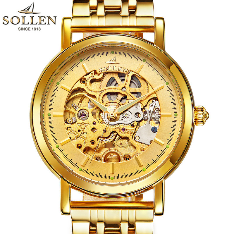 цена на 2016 SOLLEN Gold Full Stainless Steel Automatic Mechanical Watch Men Skeleton Designer Mens Watches Clock Male Relogio Masculino
