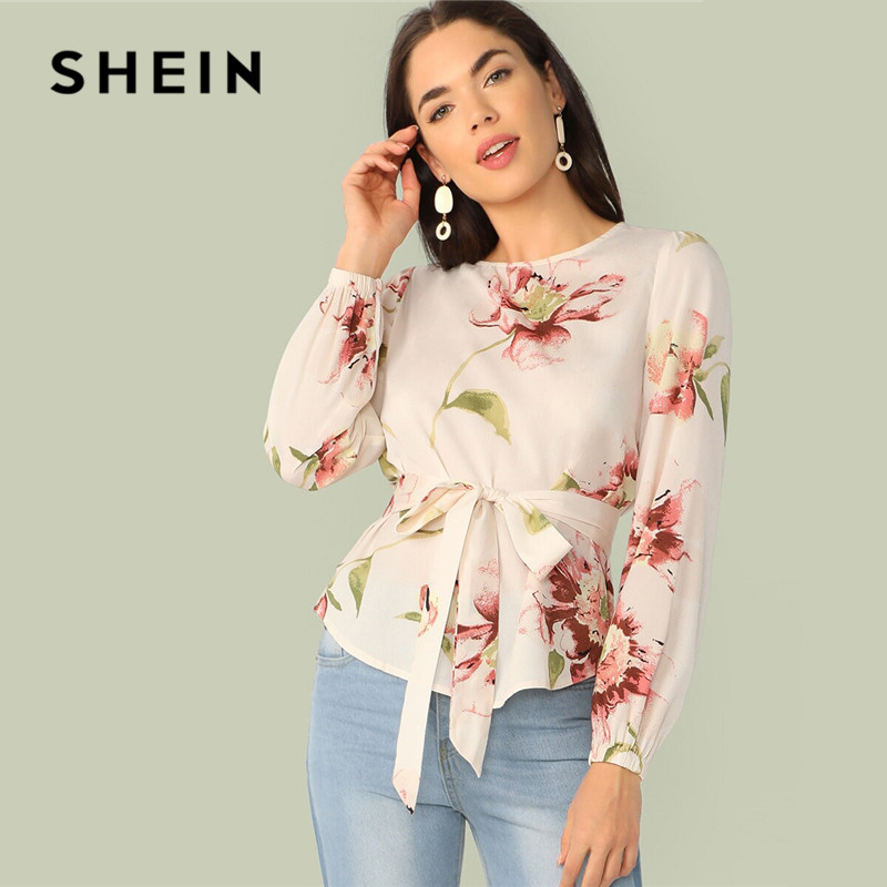 SHEIN Floral Print Belted Curved Hem Blouse Women Clothes 2019 Spring Summer Elegant Round Neck Long Sleeve Blouse Ladies Tops
