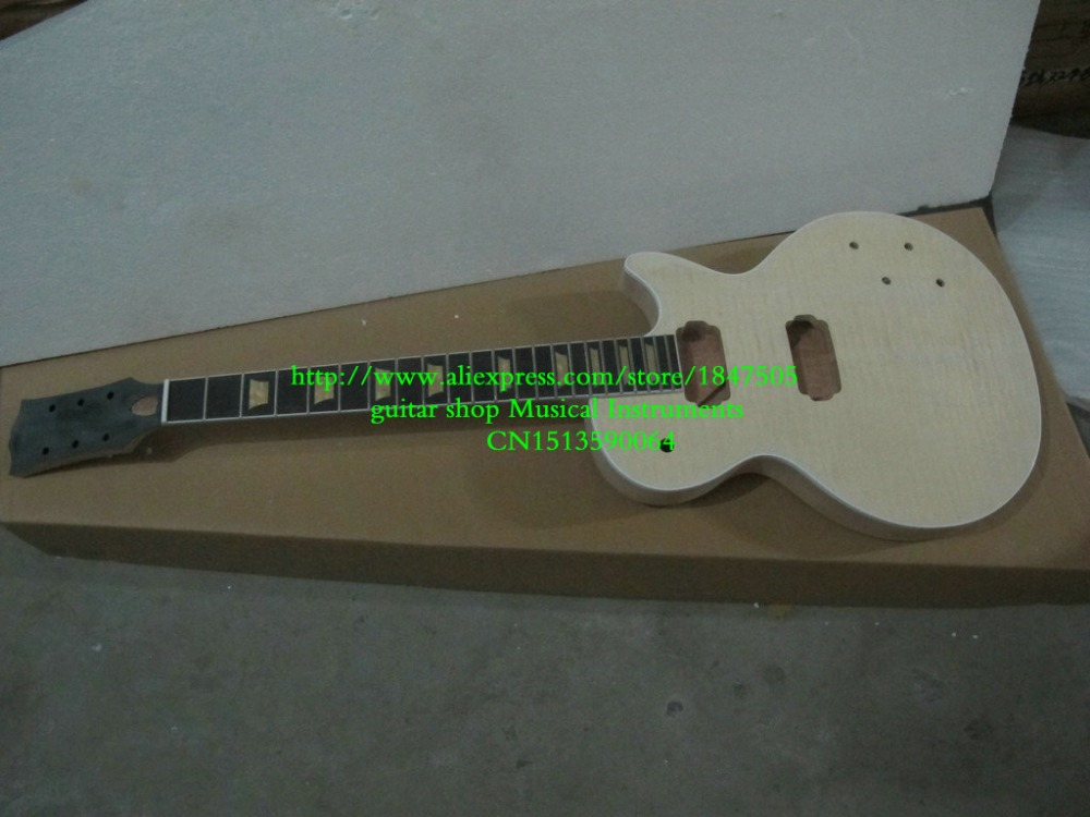 Custom Shop Mahogany Body Unfinished Electric Guitar Kit With Flamed Maple Top custom shop electric guitar kit nature wood grain finish solid mahogany guitar body for sale