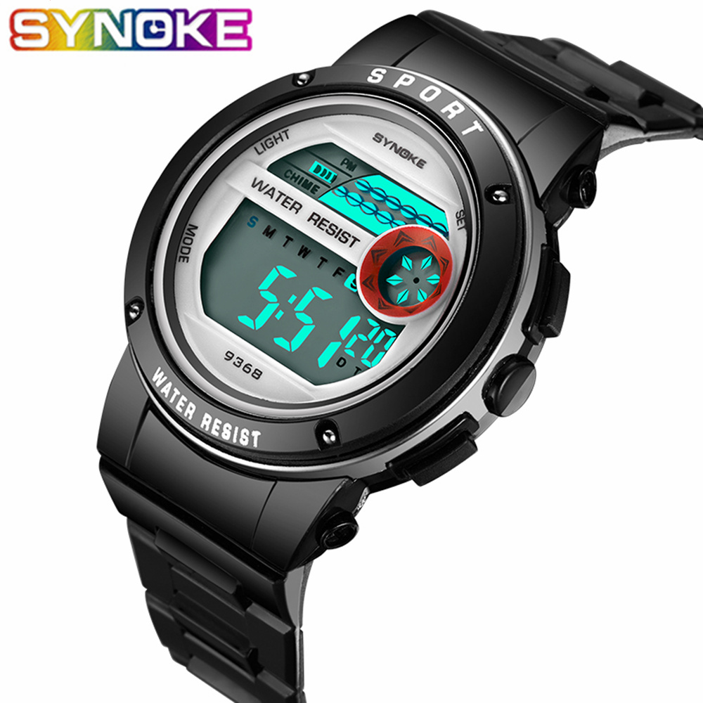 SYNOKE Children's Watches Kids Wrist Watch Back Light Alarm 30m Waterproof Gold Sport LED Display Digital Watch For Kids Boys