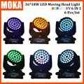 6 uds/lote moka fábrica Auto Control maestro 18w * 36 Uds Led cabeza móvil Zoom lavado gran fiesta luz 12CH DMX512 320W luz de la etapa