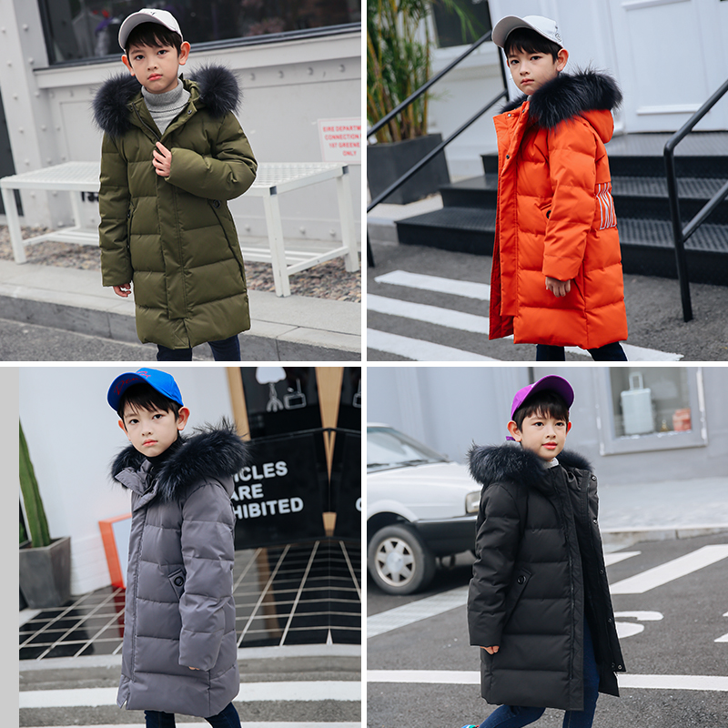 XYF9973 Boys Girls Winter Down Jackets Kids Plus Fur Collar Winter Jacket Coat Warm Outerwear Long Coat 85% White Duck Down winter plus size middle aged down jacket women medium long hooded warm down jacket winter jackets slim elegant fur collar coat