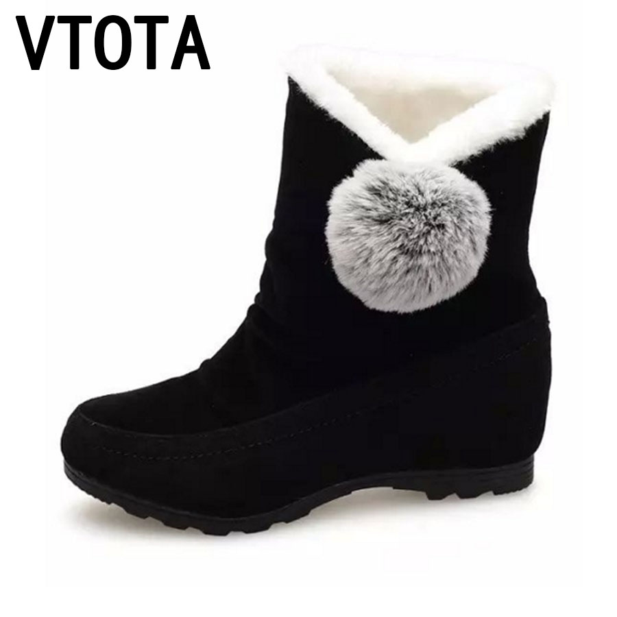 VTOTA Snow Boots Women Winter Shoes Flat Warm Ankle Boots Tenis Feminino Casual Shoes Slip On Shoes For Women Botas Mujer E30 vtota snow boots women winter boots hot warm fur flat platform shoes women slip on shoes for women botas mujer ankle boots e62