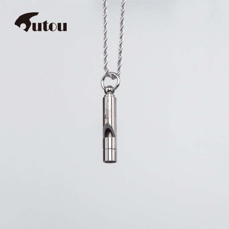 1PCS stainless steel whistle camping sports game outdoor surviva whistle necklace Creative laser lettrering in Whistle from Sports Entertainment
