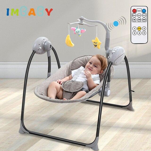 IMBABY bebé mecedora bebé columpio cuna eléctrica de bebé con Control remoto cuna mecedora para recién nacidos columpio silla
