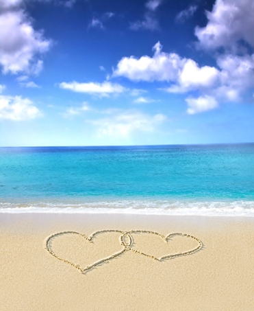 8x8ft Clouds Sky Blue Sea Love Heart Valentine Sand Beach