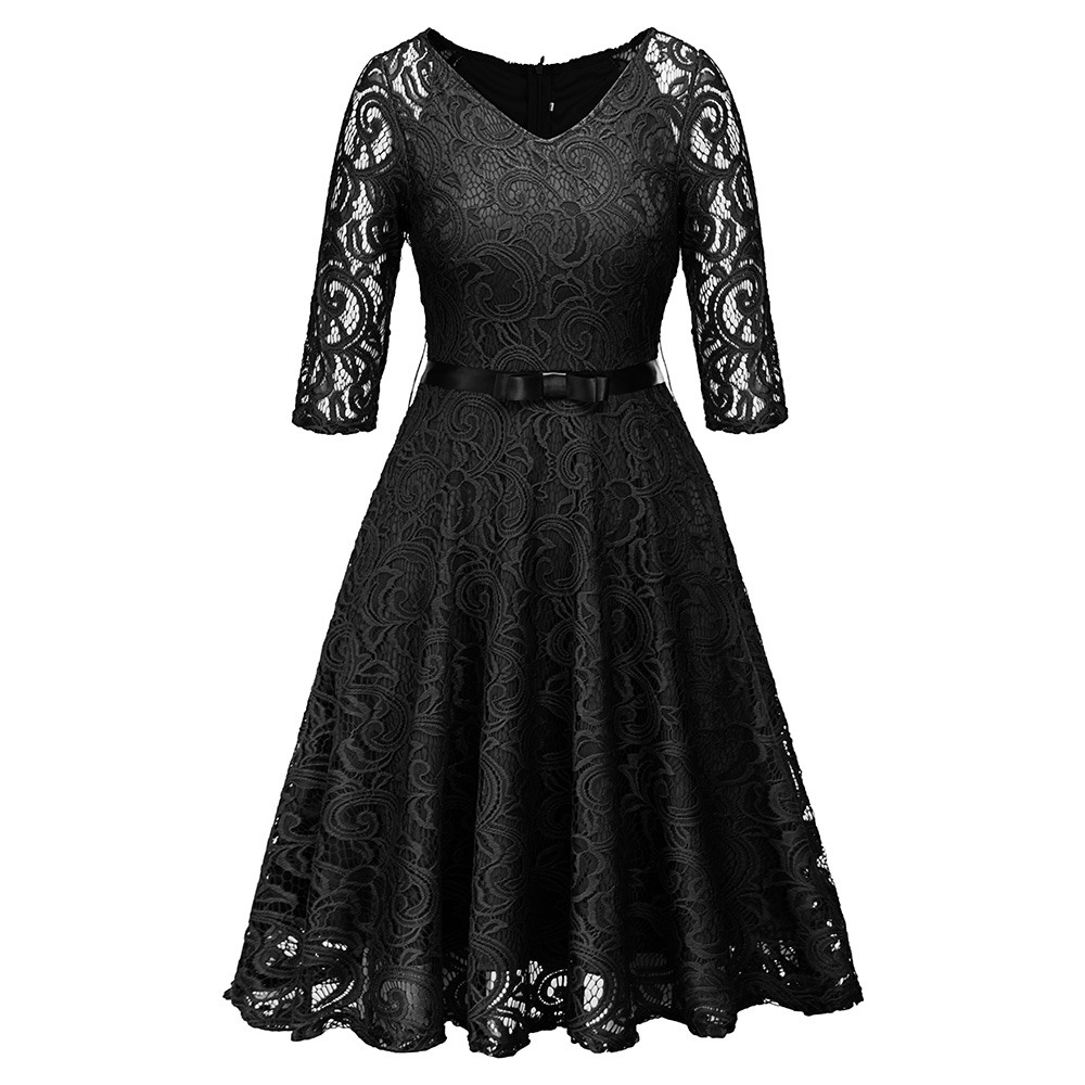 Sisjuly Women Party Gothic Black Blue Green Hollow Out Floral Lace