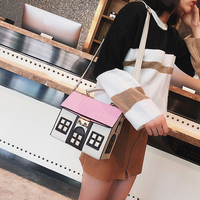 Design Pu Leather Funny Cute Cartoon House Handbag Women's Personality Handbag Ladies Shoulder Crossbody Messenger Bag Bolsa New