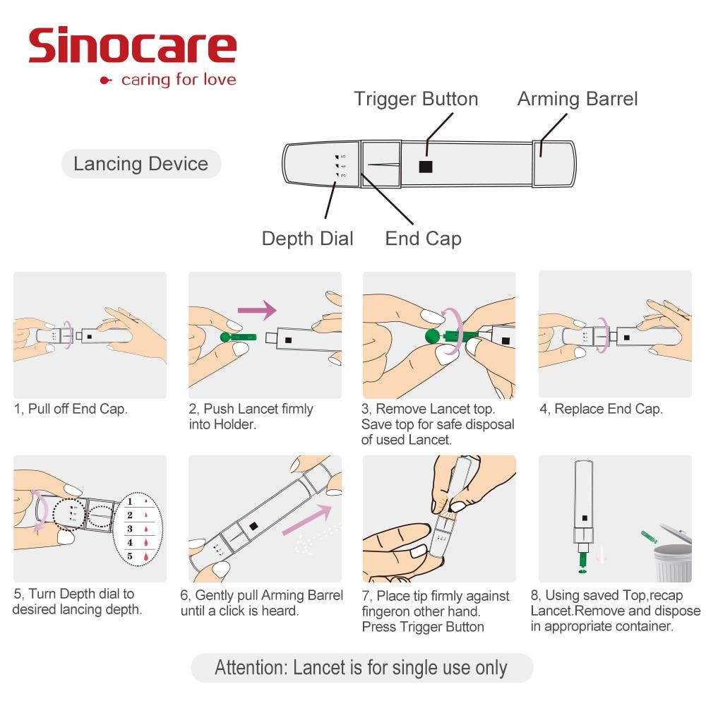 (mg/dL VS mmol/L)Sinocare Blood Glucose Meter Glm Diabetes Test Kit Glucometer & 50 Test Strips 50 Lancets Safe AQ Smart