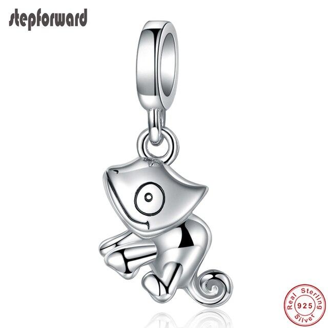 Ciondoli lucertola STEP advance 100% argento Sterling 925 camaleonte collana con bracciale originale con ciondolo per ciondolo da donna