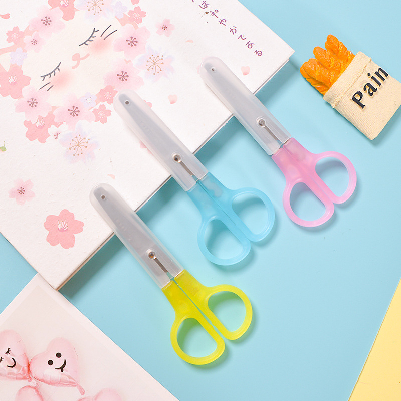 1 Pcs Candy Colors Metal Scissors Kawaii Kid Manual Crafts Paper Cut Tool Art Plastic Small Scissors Stationery
