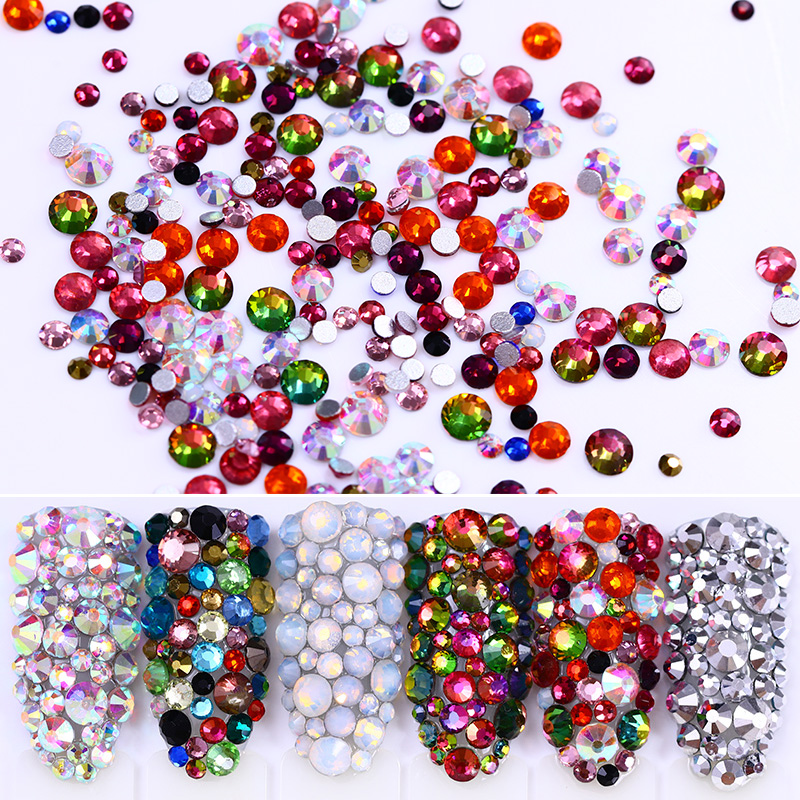 Sharp Bottom Colorful Rhinestone Clear Grey  Crystal 3D Nail Decoration Manicure Nail Art Accessory 4 6 waterdrop shape 3d nail art sharp bottom glass rhinestone nail tip decoration phone decor accessories 10pc