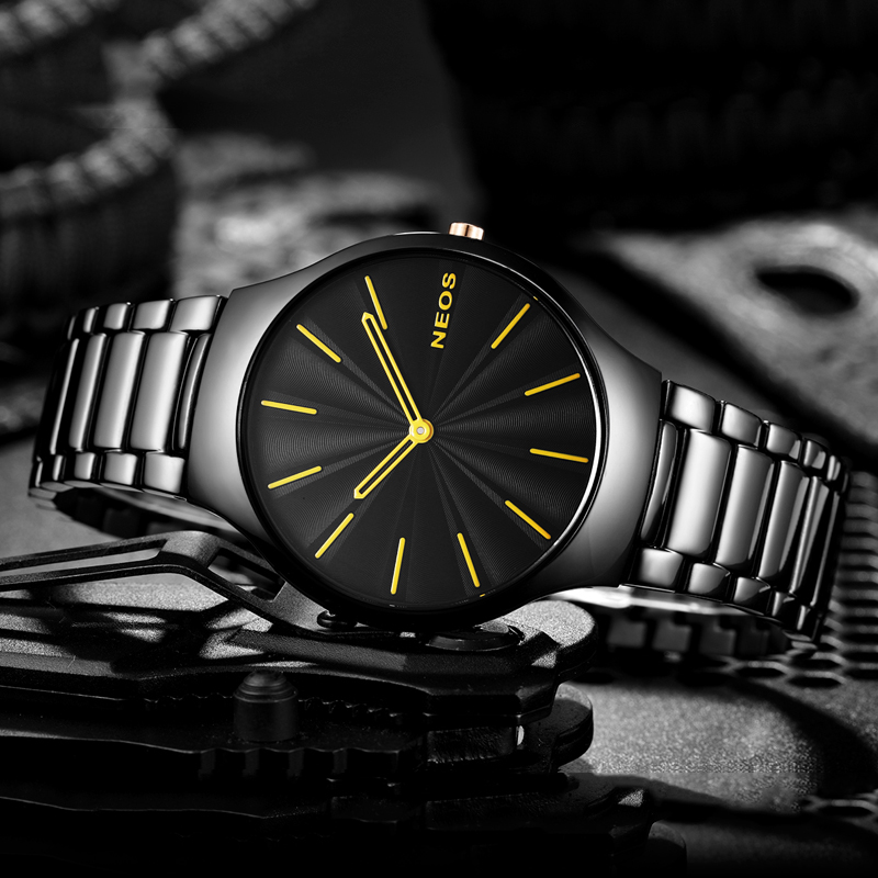2017 NEOS Men 's Watch Ultra - thin Simple Fashion Section Leisure Tide Waterproof Men' s Table Quartz Watch Steel Belt цена