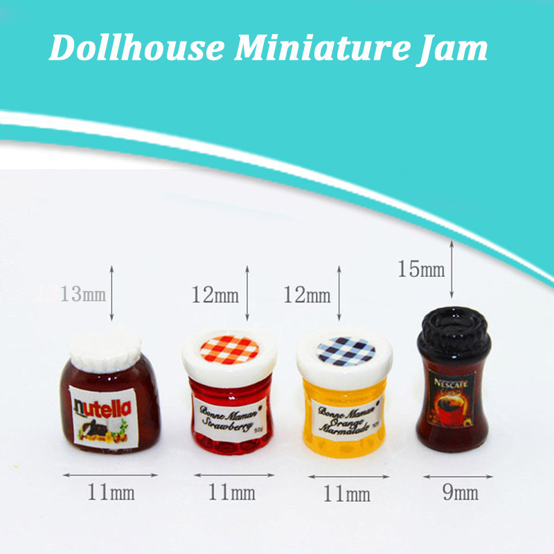 4pcs DIY Dollhouse Miniatures 1:12 Casa Boneca Salad Jam Coffee Ketchup Bottle Kitchen Tableware Doll House Toys Accessories