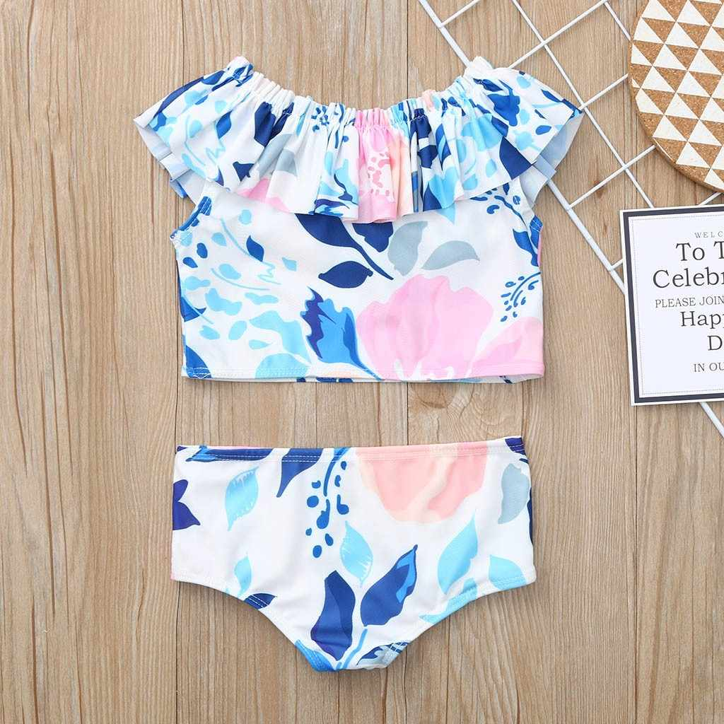 2019 Zomer Mermaid Print Meisjes Bikini Kinderen Ruffle Off Shoulder Badmode Peuter Kids Badpak Beach Badpak Mayokini