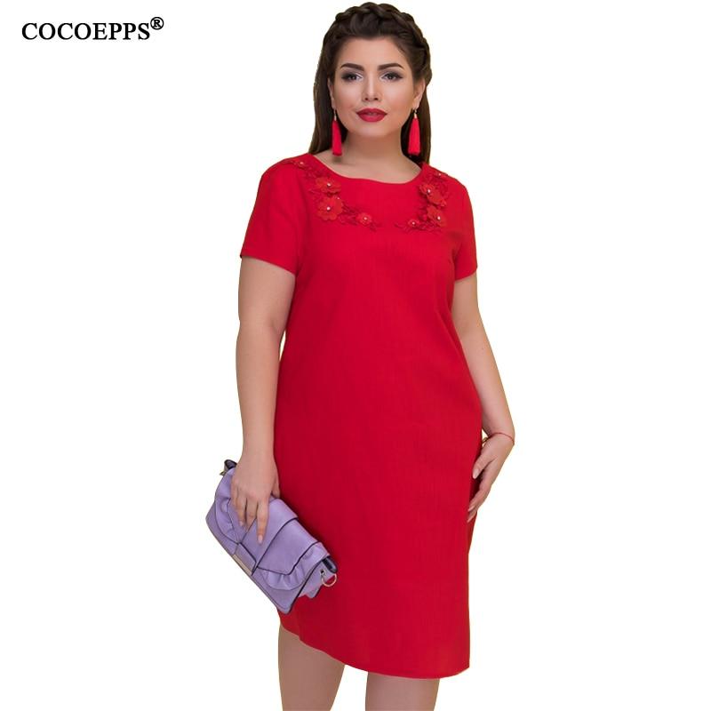 b4dd8c874ed9ff € 12.6 34% de réduction|COCOEPPS été femmes robe 6XL grande taille vestidos  robe bureau dame élégant Plus grande taille femme vêtements ...