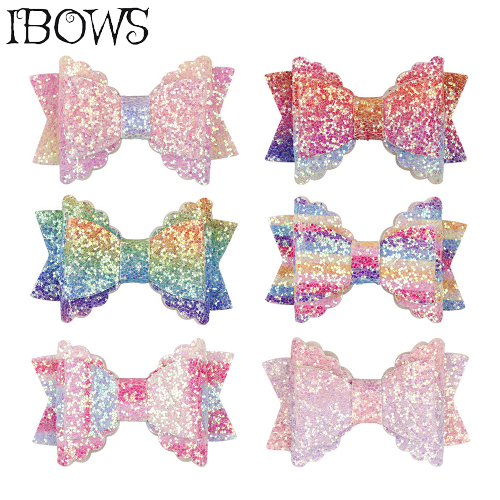 3 Inch Bling Hair Clips Kids Rainbow Glitter Hairgrips For Girls Lovely Party   Headwear   Handmade Hair Bows Hair Accessories