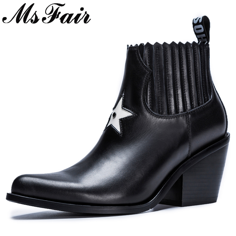 все цены на MsFair Pointed Toe High Heel Women Boots Genuine Leather Rivet Ankle Boots Women Shoes Elegant Black Ankle Boots Shoes Woman онлайн