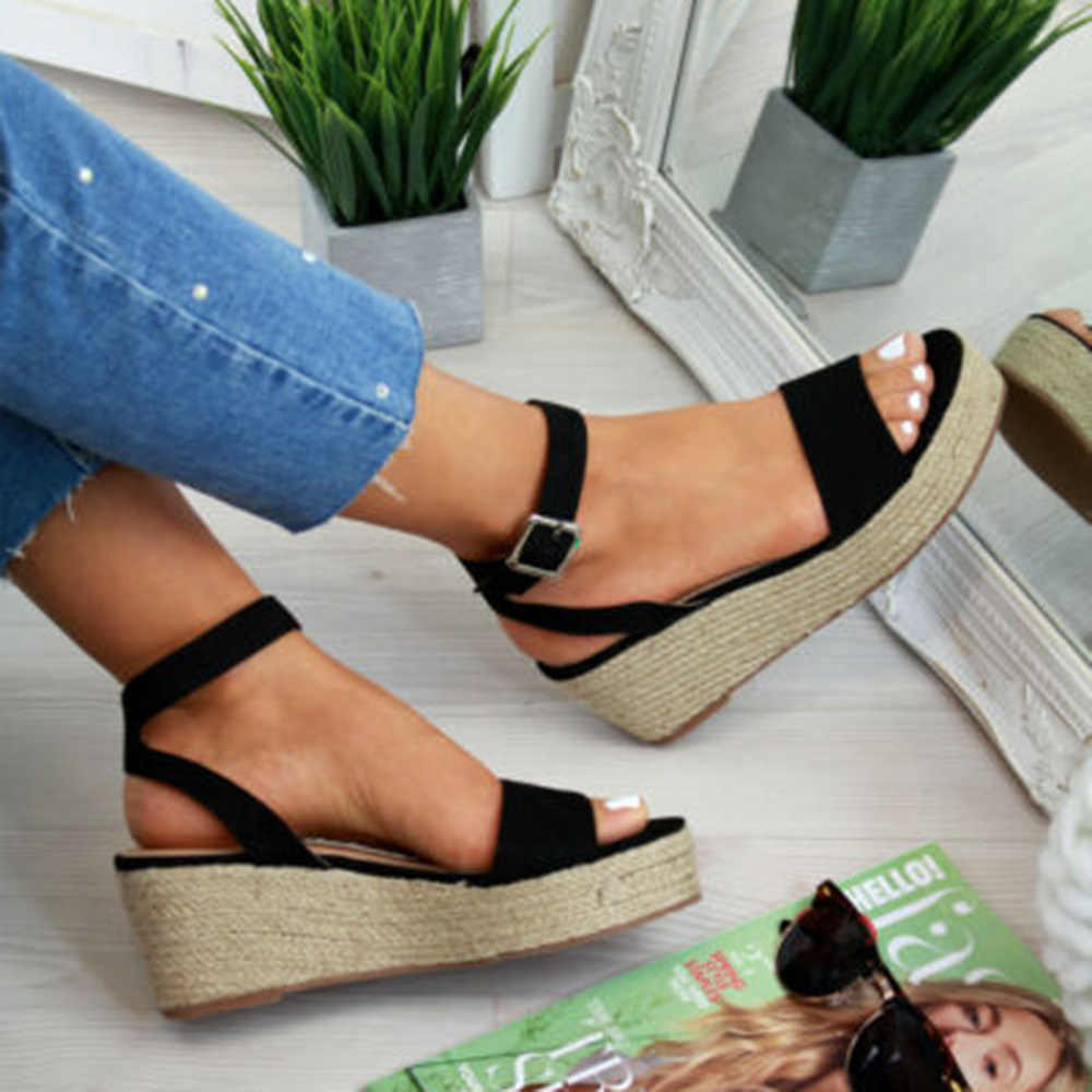 Puimentiua zapatos de verano sandalias de plataforma sandalias de moda de mujer Sandalias de cuña de moda Zapatos casuales de mujer