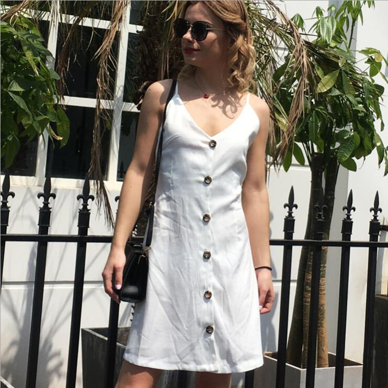 New women button sexy casual dress summer strap dress short boho beach pockets women sundress vestidos Elegant daily dess female