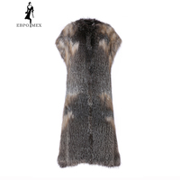 Winter Fox fur coat female 2018 new long paragraph fox hair vest fashion was thin leather grass high grade fur coat Sleeveless