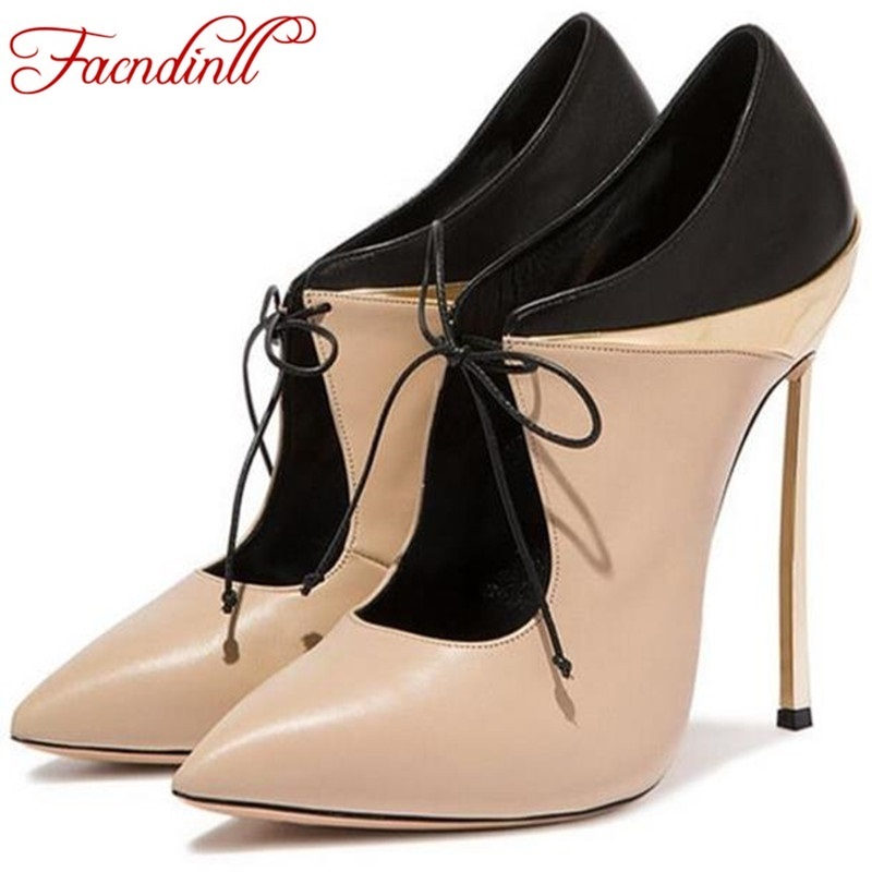 FACNDINLL new shoes woman thin heel pumps sexy black high heels pointed toe women soft leather party wedding shoes for women bowknot pointed toe women pumps flock leather woman thin high heels wedding shoes 2017 new fashion shoes plus size 41 42