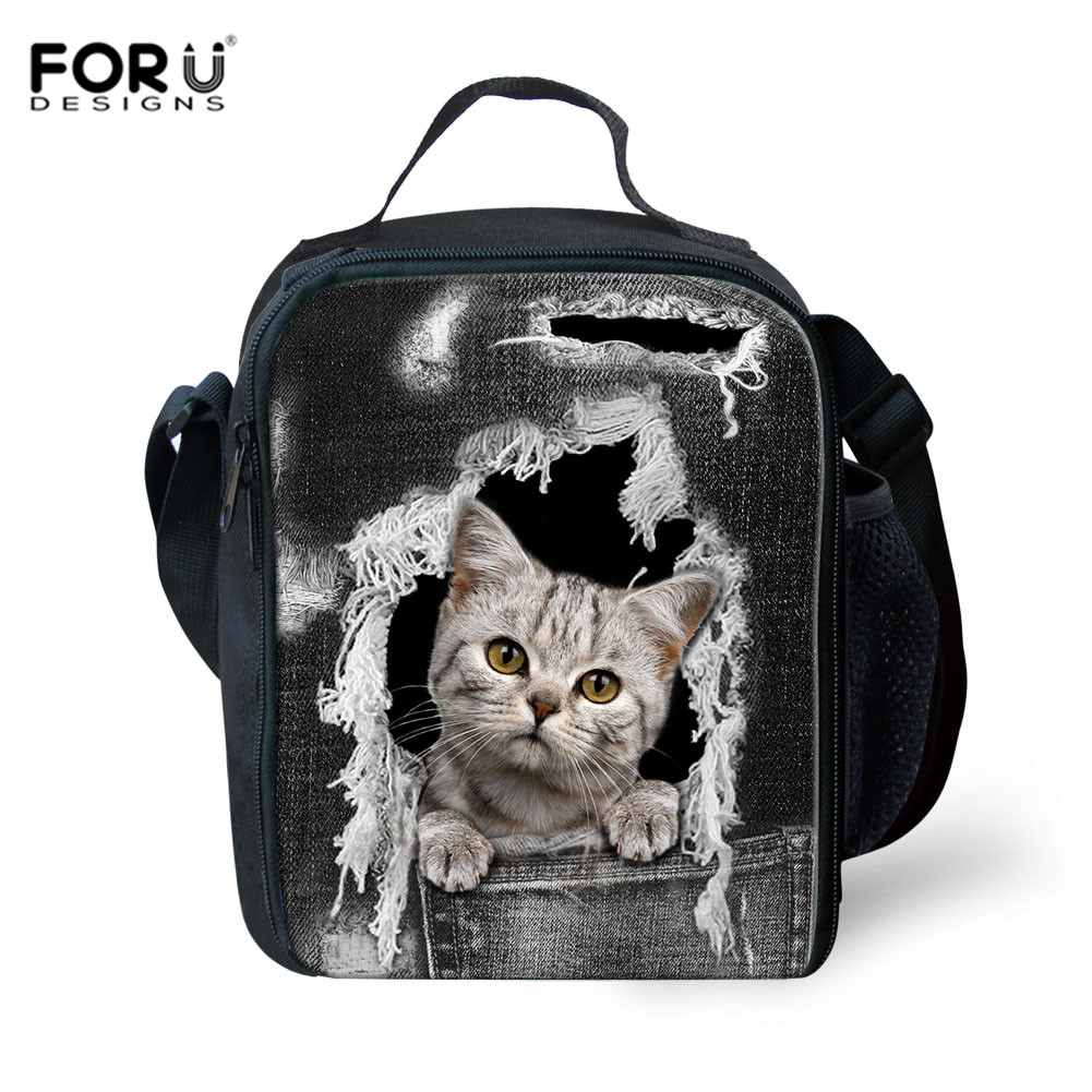 FORUDESIGNS Thermal Insulated Lunch Bag for Kid Denim Cat Dogs Food Bags Fresh Keeping Bag Women Picnic Tote School Lunchbox Bag