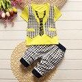 BibiCola meninos roupas de verão conjuntos de Manga Curta shorts de Algodão terno do bebê Menino Cavalheiro Xadrez Colete de Malha de Algodão T-Camisa Set