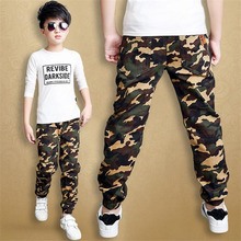 Камуфляжные брюки для мальчиков г. Повседневные Хлопковые Штаны-шаровары с принтом и эластичной резинкой на талии, детские штаны для мальчиков синие, зеленые, армейские, P300