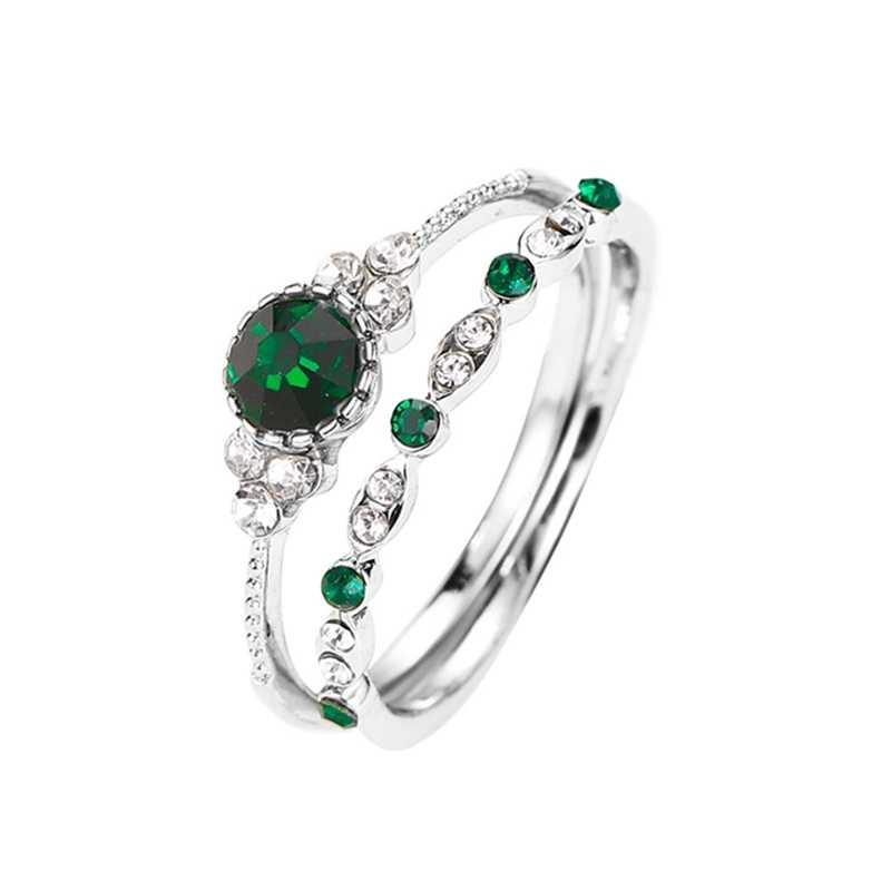 2 ชิ้น/เซ็ตรอบสีเขียวสีฟ้าประดิษฐ์ที่ละเอียดอ่อนแหวนผู้หญิง Sliver สีแหวนหมั้นแต่งงานแหวนแฟชั่นเครื่องประดับ