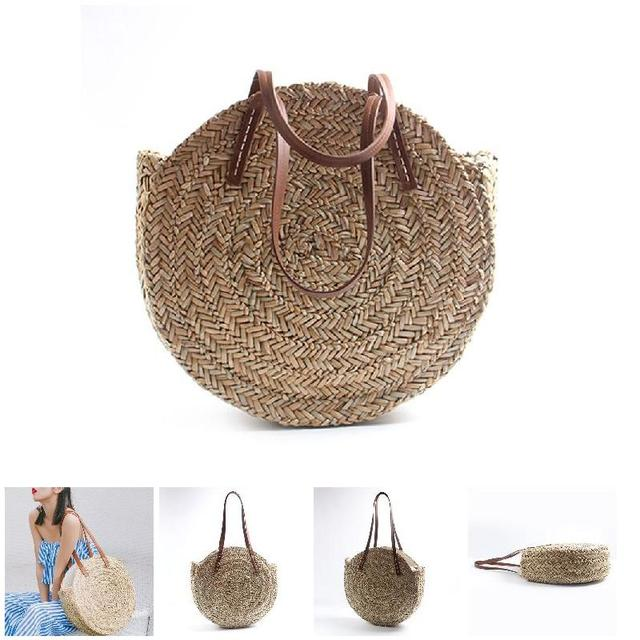 4569a4d108f4 Women Straw Weave Handbag Round Shoulder Bag Girl Casual Bags For Beach  Travel New
