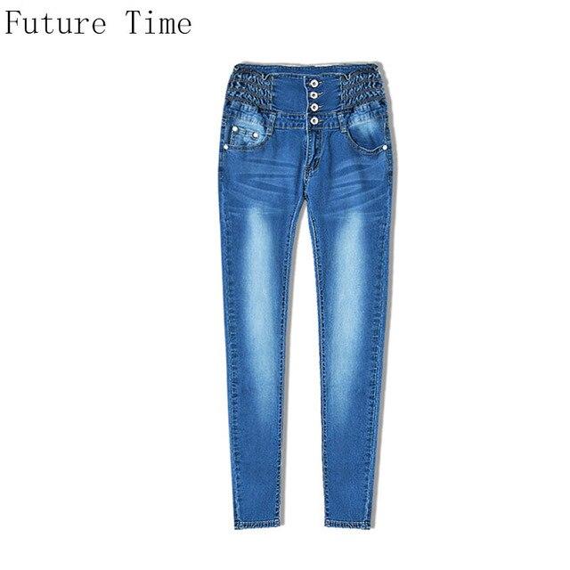 Slim Row Button Women Jeans High Waist Skinny Vogue Whisker Pencil Pants  Elastic Blue Autumn News 78c6daf6a