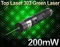 Hot Sale Top Laser 303 Green Laser Pointer Adjustable Focal Length Laser Pen 200mW Laser Flashlight with Star Pattern Filter