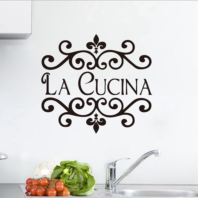 US $4.81 15% OFF|La Cucina Kitchen Wall Sticker Italian Home Kitchen Quote  Wall Decor Flower Kitchen Cut Vinyl Waterproof Decor Wall Art Mural-in Wall  ...