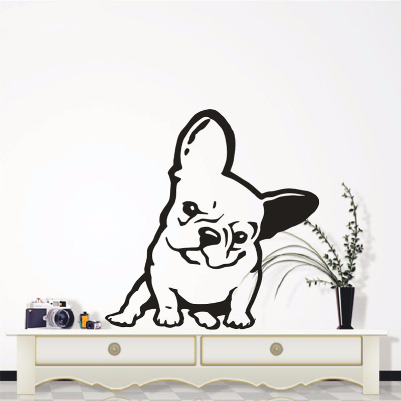 French Wall Decals 3d Vinyl Wall Sticker Bulldog Dog