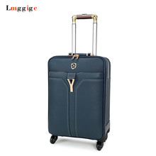 Men Women Travel Suitcase Universal Wheels Trolley Luggage Bag with Spinner Rolling PU Material Carry-On Case Carrier Box