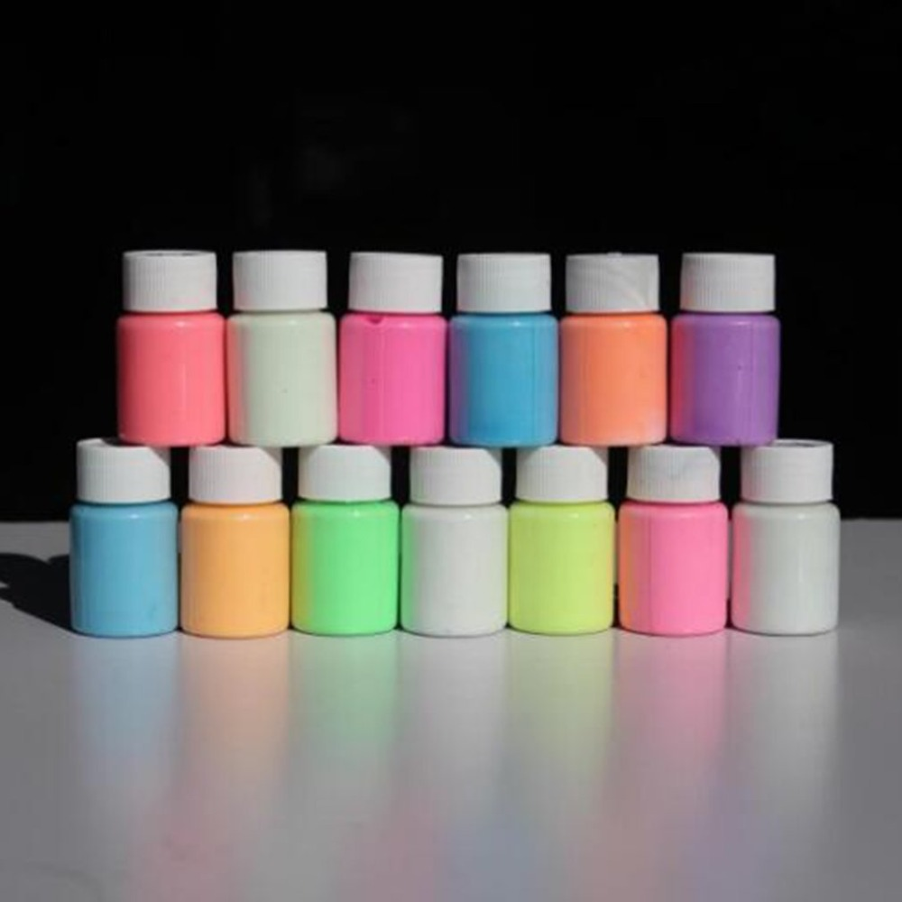 New 13 Color DIY Top Eco Non-toxic Odor Free Waterproof Graffiti Paint Luminous Acrylic Glow In The Dark Pigment Party Walls