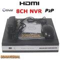 P2P Onvif 8CH NVR DVR 8 Canais HDMI 8CH 960 P/8CH 720 P/8CH 1080 P IP Camera Recorder H.264 Vista Suporte Remoto de Movimento detecção
