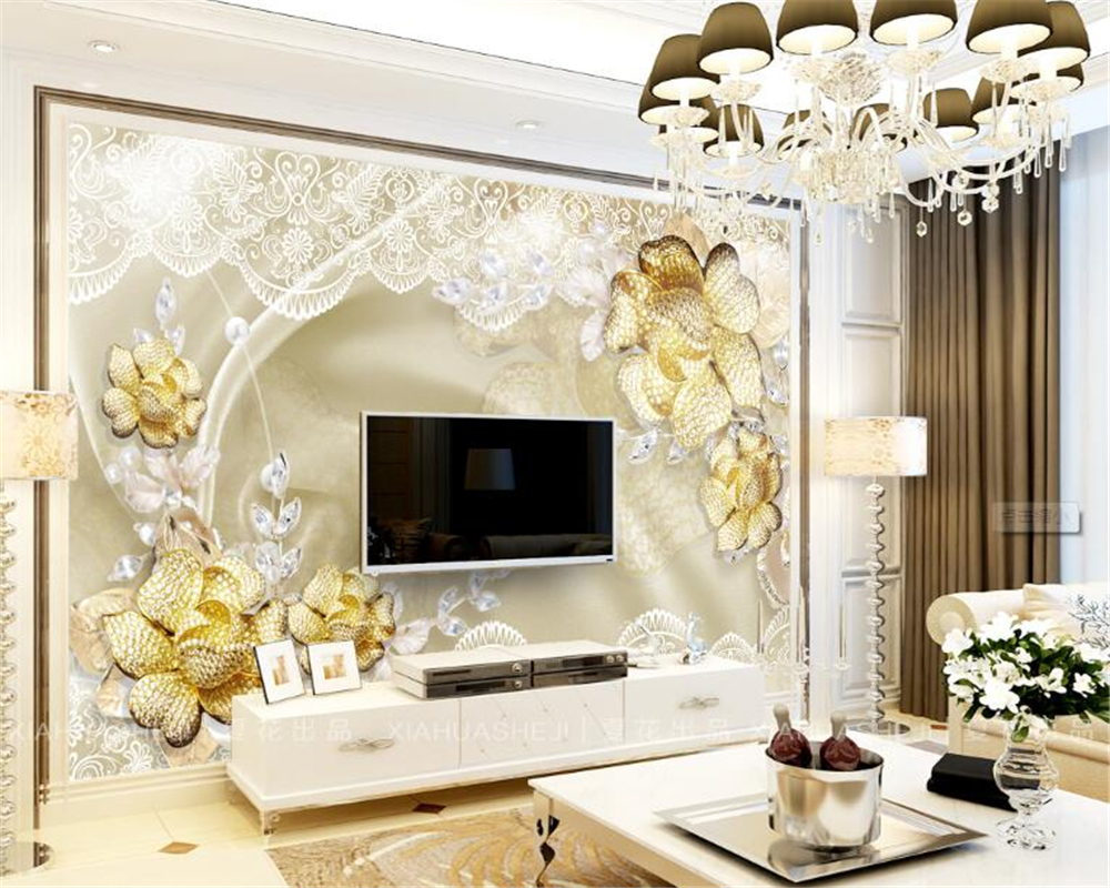 Beibehang 3D Wallpaper Gold Diamond High Quality Luxury Rose Jewelry ...