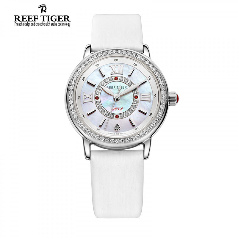 цена на Reef Tiger/RT Fashion Elegant Watches for Women Ronda 763 Quartz Watch with Diamonds Bezel MOP Dial Calfskin Leather RGA1563