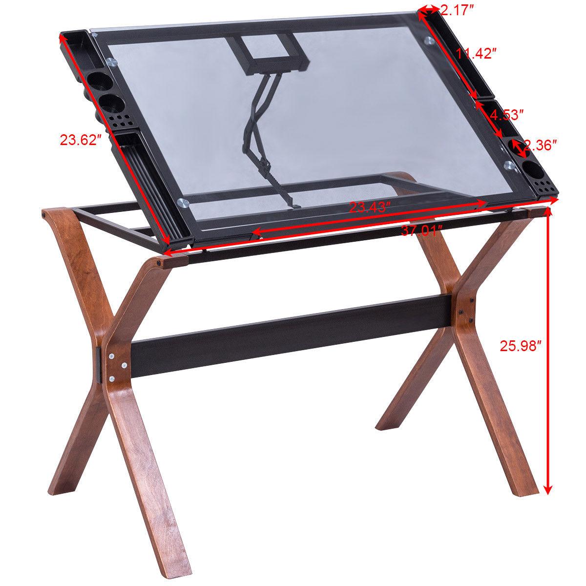 Charmant Giantex Adjustable Drafting Table Craft Station Modern Drawing Desk Glass  Top Art U0026 Craft Hobby Furniture HW56042 In Laptop Desks From Furniture On  ...