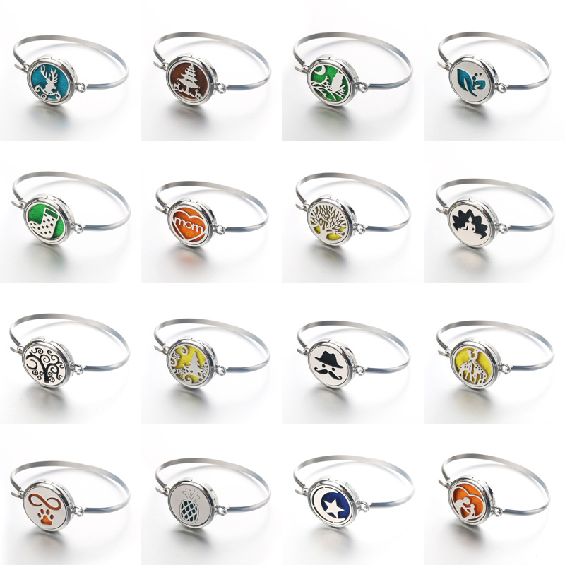 16 styles Stainless Steel Magnetic Aroma spread Bangles Perfume Essential Oil Diffuser leaf Perfume bracelet Dropshipping