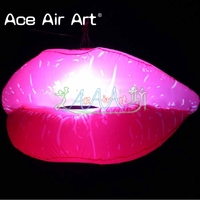 new and developing Inflatable Sexy Pink Lip replica ceiling decoration LED for Lovers Restaurant or night club
