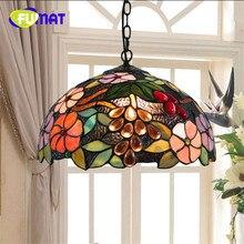 """FUMAT lámpara colgante de luz Mediterráneo moderno, creativa, Tiffany, vidriera, sala de estar, 12 """", girasol, decoración para el hogar, candelabro de techo artístico"""
