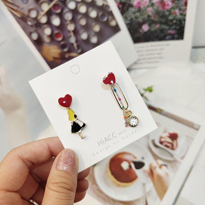 Women Cartoon Alice Clock Chains Cute Anti allergy Drop Dangle Earrings Korea Handmade Fashion Jewelry Gift Holiday JQD5 in Drop Earrings from Jewelry Accessories