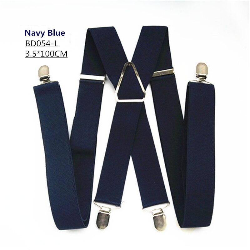 Одноцветные подтяжки унисекс для взрослых, мужские XXL, большие размеры, 3,5 см, ширина, регулируемые эластичные, 4 зажима X сзади, женские брюки, подтяжки, BD054 - Цвет: Navy-100cm